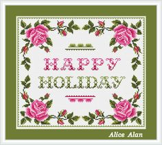 Cross Stitch Pattern Happy Holiday in floral frame by HallStitch