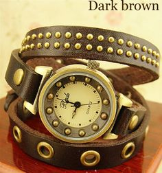 Wrapped bronze Vintage Bracelet Watch  Color:red/black/green/dark brown/brown  Dial diameter 2.5CM  Material: cowhide  Strap length of about 60 CM