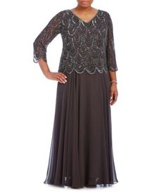 bd03ce7886c Shop for Jkara Plus V-Neck Beaded Gown at Dillards.com. Visit Dillards