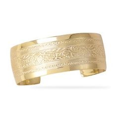 14 Karat Gold Plated Brass Floral Cuff Bracelet ** You can find more details by visiting the image link.