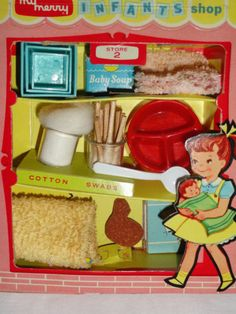 Vintage My Merry Infant Shop.  I loved dimestore toy sets like these!  I vividly remember seeing them at Woolworth.
