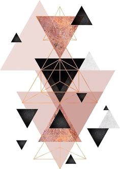 'Geometric Triangles in blush and rose gold' Canvas Print by UrbanEpiphany Abstract geometric triangle design in pink blush, black and rose gold.