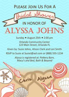 Beach Themed Bridal Shower Invitations Template