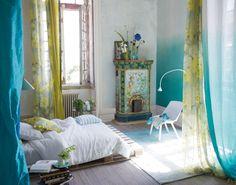 Designers Guild Saraille aqua fabric and wallpaper
