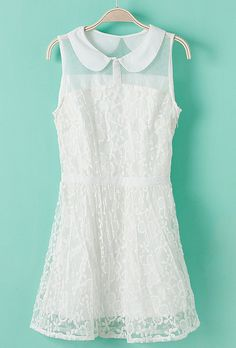 White Lapel Sleeveless Lace Embroidery Chiffon Dress