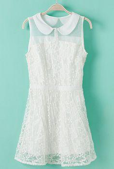 White Lapel Sleeveless Lace Embroidery Chiffon Dress