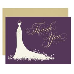 "Bridal Shower Flat Thank You Cards | Wedding Gown Elegant bridal shower or wedding ""Thank You"" note cards for the stylish bride-to-be features an ornate calligraphy script font and flowing wedding gown. Scroll flourish, flower and butterfly details accent the ethereal dress. Flat card format includes space on the back for a handwritten message. Design colors include soft white / ivory, dark plum / eggplant purple, and champagne gold."