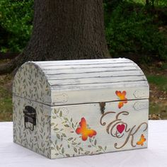Fall Wedding Card Box Rustic Shabby Chic Large by TrueVineWeddings, $131.96  Expensive but beautiful!