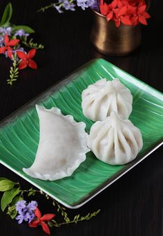 Modak recipe with step by step pictures. Learn how to make modak without mould. Kudumu, modakam, kadubu are the other names . Indian Desserts, Indian Sweets, Indian Snacks, Indian Dishes, Indian Food Recipes, Modak Recipe, Sweet Crepes Recipe, Tasty Vegetarian Recipes, South Indian Food