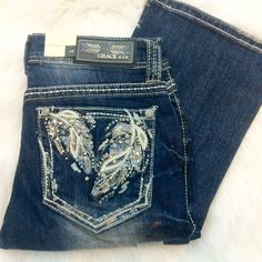 GRACE IN L.A FALLING FEATHERS EASY BOOTCUT JEANS - decadenceboutique - 1
