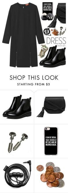 """""""Winter Dress Under $100"""" by sharmarie ❤ liked on Polyvore featuring WithChic, LULUS, Casetify, Eos and Forever 21"""