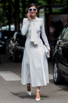 Giovanna Battaglia looked spring-ready in an all-white ensemble for the shows.   - HarpersBAZAAR.co.uk