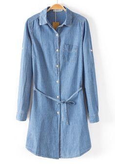 Blue Belt Single Pocket Long Sleeve Denim Dress