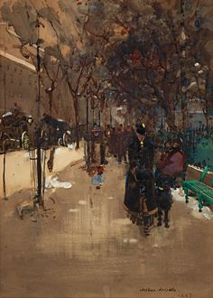 Arthur Melville (Scottish, 1858-1904) A Street Scene in Paris; a Wet Sunday Afternoon, 1889. Watercolour on paper.