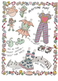 Bill Woggon's Sis The Candy Kid paper doll book, from the Katy Keene comic series, Marvel Comics - Katy Keene's kid sister = little girl with glasses