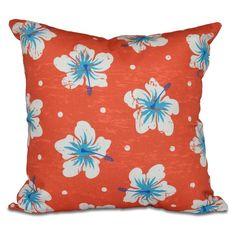 E by Design Hang Ten Hibiscus Blooms Decorative Pillow