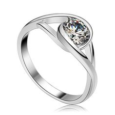 New Fashion 925 Sterling Silver Zircon Ring Made With SWA Zirconia Women's Personalized Jewelry Free Shipping (CR009)