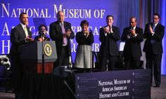 President Barack Obama speaks at the ground breaking ceremony for the Smithsonian National Museum of African American History and Culture in Washington, D.C. on February 22, 2012. Obama was joined by Smithsonian, religious and political leaders. The museum is set to open in 2015.