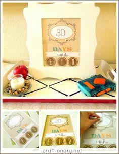 Ramadan calendar free printable for decorative Eid home idea. Print and hang in a frame or board. Ramazan till Eid countdown for roza (fast) counting daily Eid Crafts, Ramadan Crafts, Ramadan Decorations, Crafts For Kids, Craft Projects, Projects To Try, Craft Ideas, Muslim Holidays, Eid Food