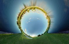 Named Alternate Perspectives, the images present a series of panoramic views that curve around to form impossible circles.
