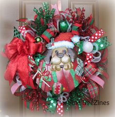 Santa Puppy Christmas Deco Mesh Wreath,  Christmas Deco Mesh Wreath, Christmas Mesh Wreath, Christmas Dog Mesh Wreath