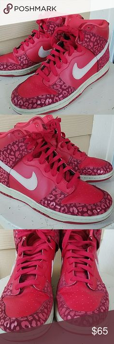 Nike women's dunk high skinny red leopard sz 9 Nike women's dunk high skinny red leopard in size 9. In great condition. No flaws. Nike Shoes