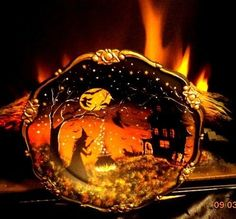 VINTAGE SILVER PLATE WITCH CATS HAUNTED HOUSE FOOTED BOWL / TRAY HP BY* Peggy G