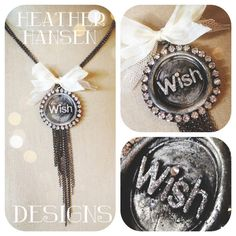 Vintage wax seal glittered pendant with Chain tassel and soldered Rhinestone edge <3