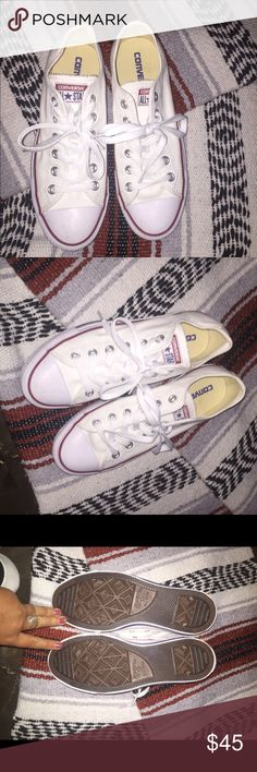 Converse White converse in a size 8, these are in great condition and they're aren't even signs of wear on the bottoms of the shoes(: Converse Shoes