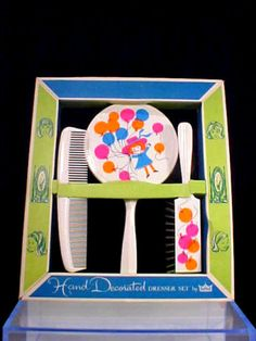 Vtg.1960's vtg.,Mad Men era, CHILDS vanity set, mint in box w/ balloon decor.