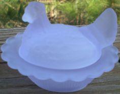 Mosser Glass Hen on Nest 3 Inch Salt