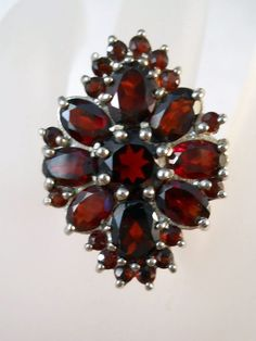 """Elagant deep red garnets and sterling - from the Ruby Lane shop """"Suzy's Timeless Treasures """""""