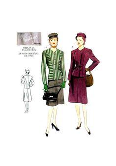 2199 Vogue Vintage Model Original 1946 Design Fitted Jacket and A-Line Skirt, Uncut, Factory Folded, Sewing Pattern (various sizes) Vintage Models, Princess Seam, 1950s Fashion, Shoulder Pads, A Line Skirts, Sewing Patterns, Vogue, The Originals, Long Sleeve