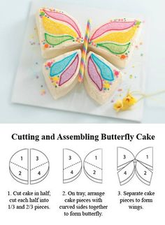 butterfly cake design - perfect for a little girl's birthday Butterfly Birthday Cakes, Butterfly Party, Butterfly Cakes, Simple Butterfly, Butterflies, Butterfly Shape, Cake Birthday, Butterfly Cake Template, Chocolate Birthday Cake Kids