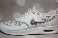size 40 f54e3 b21ef Cheap Feet Running Shoes Shoes Womens Nike Air Max Thea Cheetah Print in  WhiteWolf GreyPure Platinum Embellished with Genuine Swarovski Crystals Bling  Nikes