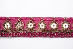 Galon Indien Rose Sequin Doré 2 cm x 1 m : Galons par crea-loisirs