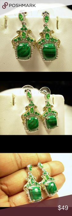 Platinum 18K Yellow Gold Malachite Earring Jewelry Gorgeous Malachite stone Simulated green Diamonds Rhodium/ Ion Plated Platinum & 18 K yellow gold Will not fade or turn colors. Beautifully made. 3 X 1.7 cm Jewelry Earrings