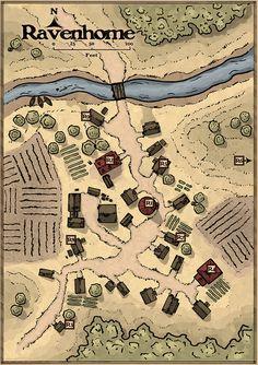 Fantasy City Map, Fantasy Village, Fantasy World Map, Fantasy Town, Plan Ville, Pathfinder Maps, Village Map, Rpg Map, Map Layout