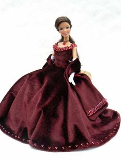 FREE Barbie Opera gown and pattern Sewing Barbie Clothes, Barbie Sewing Patterns, Sewing Dolls, Doll Clothes Patterns, Clothing Patterns, Dress Patterns, Doll Patterns, Free Barbie, Barbie Dress