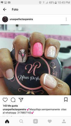 Clay Flowers, Short Nails, Love Nails, Manicure And Pedicure, Nail Tips, Hair And Nails, Nail Colors, Nail Art Designs, Make Up