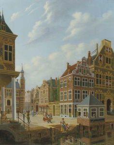 Jan Hendrik Verheijen (Dutch, 1778-1846)  city view with the office of the Commissaris van het Rotterdamse Veer