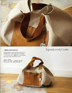 From CLOTH AND LEATHER BAG - JAPANESE SEWING PATTERNS BOOK FOR BAGS - HEART WARMING LIFE SERIES 4  ...