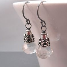 Crystal Quartz Dangle Earrings Oxidized by clairannadesigns
