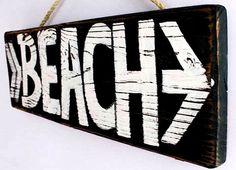 handmade beach sign on reclaimed wood