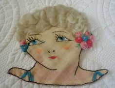ART DECO LADY HAND EMBROIDERED WITH WAVY HAIR APPLIQUE | eBay