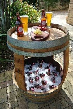 Patio beverage cooler/table made from old whiskey barrel.- What a great idea. I have a barrel, now I have something awesome to do with it Backyard Projects, Outdoor Projects, Backyard Patio, Home Projects, Barrel Projects, Patio Bar, Back Yard Patio Ideas, Pallet Patio, Patio Roof