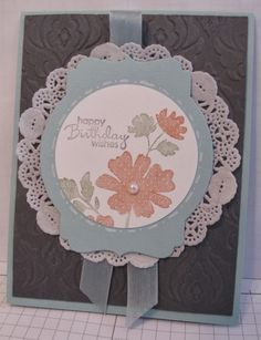 "SU Beautifully Baroque E F, Deco Die #3, 2-1/2"" Circle Punch, Paper Doily   **layout, can sub other sentiment, floral stamps"