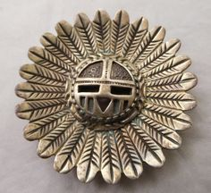 NATIVE AMERICAN WILL DENETDALE NAVAJO INDIAN STERLING SILVER SUN GOD PIN PENDANT