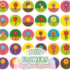 Pop Flowers 16159  Bottlecap size 1.313  Digital by blessedgrafik