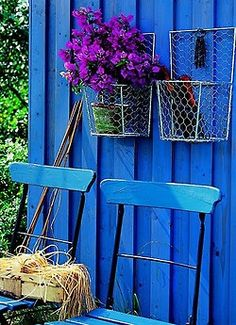 paint fake 'porch' this color and use baby blue old door.  Use purple shutters